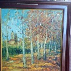 Arte: AGUSTI - TARDOR VALLPARADIS Y IGLESIA SANT PERE TERRASSA - OLEO 54X65 ENMARCADO 68X79. Lote 83608384