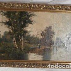 Antigua pintura paisaje con rio Firmada