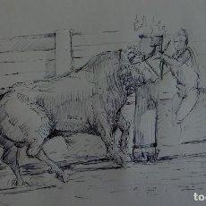 Arte: DIBUJO A BOLÍGRAFO NEGRO. APUNTE ORIGINAL DE AUTOR. TORO EMBOLADO. . Lote 83708196