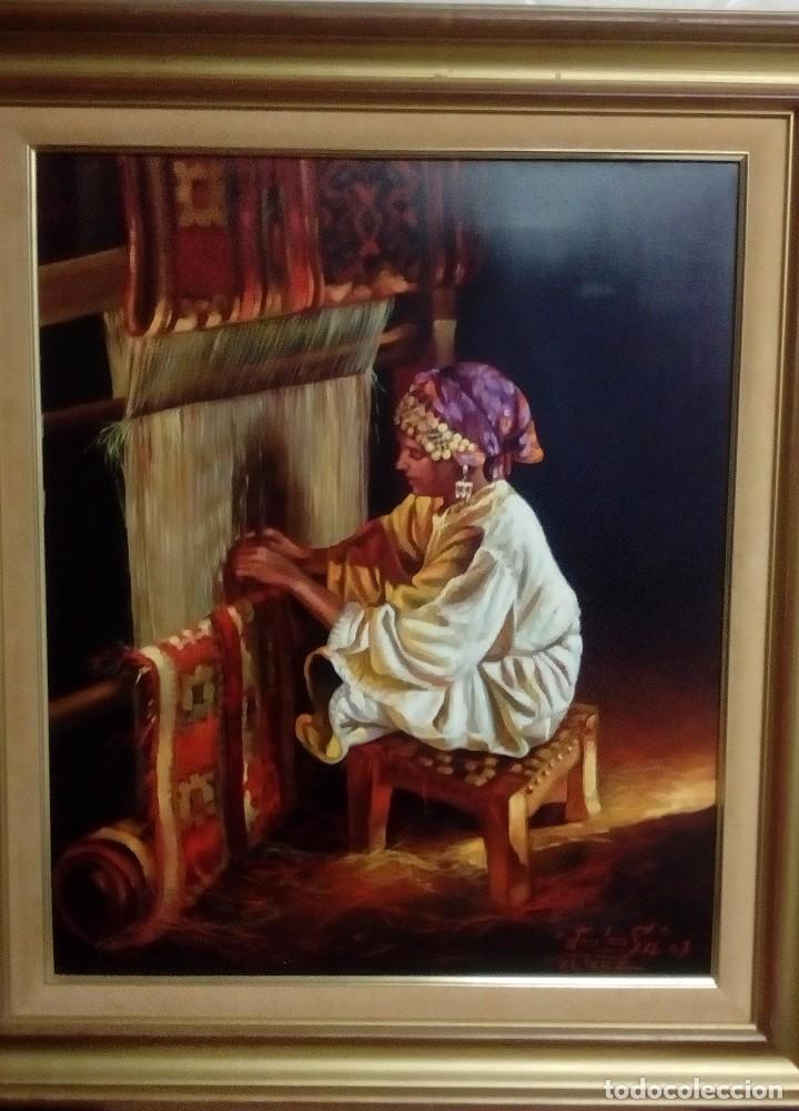 JOLOGA. ÁRABE ORIENTALISTA. LIENZO 65X54. MORA EN TELARES. F15. (Arte - Pintura - Pintura al Óleo Contemporánea )