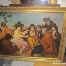 Arte: OLEO SOBRE LIENZO, COPIA DE LOS BORRACHOS DE VELÁZQUEZ, FIRMADO POR SAVELLA. MARCO: 125 X 95,5 CMS.. Lote 83911200
