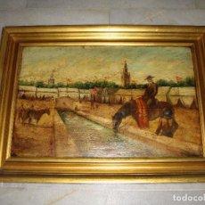 Arte: OLEO SOBRE TABLA. FERIA DE ABRIL DE SEVILLA. TORRE DEL ORO Y GIRALDA AL FONDO. FIRMADA: PRIETO.. Lote 84106436