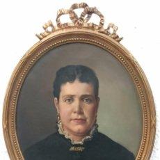 Arte: ANTIGUO RETRATO DE VICTORINO BALASANZ SANCHEZ FECHADO DE 1889.ÓLEO SOBRE LIENZO.RETRATO MUJER. ÚNICO. Lote 84267616