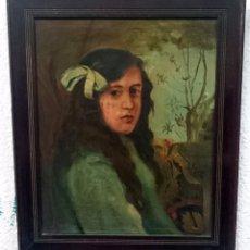 Arte: ANTIGUO ÓLEO SOBRE LIENZO DE A. PARICIO. RETRATO DE NIÑA, MUJER. 1917 FIRMADO.. Lote 84280996
