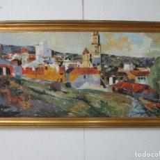 Arte: CUADRO - PINTURA - ÓLEO SOBRE TABLEX - PUEBLO - FIRMA JUAN V PAREDES - AÑO 1976. Lote 84402748