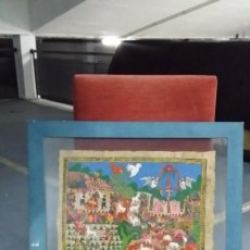 Arte: ÓLEO MEXICANO EN PAPEL DE AMATE (CORTEZA DE ARBOL) CUADRO DE 54 CM POR 44 CM. Lote 84494552