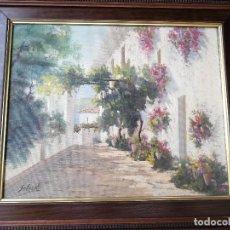 Arte: CUADRO ENMARCADO DE ÓLEO SOBRE LIENZO PATIO FLORES FIRMADO LEGIBLE SALCEDO. Lote 84714104