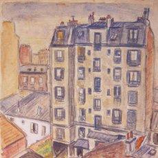 Arte: HENRI BOULAGE PINTOR POST IMPRESIONISTA MONMARTRE PARIS FRANCE FRANCIA LAPIZ Y ACUARELA. Lote 85493160