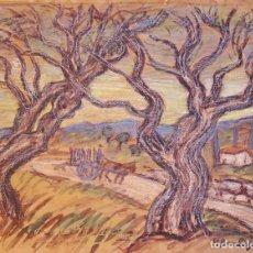 Arte: HENRI BOULAGE PINTOR POST IMPRESIONISTA MONMARTRE PARIS FRANCE FRANCIA ACUARELA OLIVIERS AURIOL. Lote 85494540