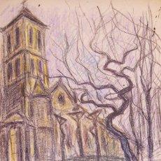Arte: HENRI BOULAGE PINTOR POST IMPRESIONISTA MONMARTRE PARIS FRANCE FRANCIA LAPIZ Y LAPICES DE COLOR. Lote 85497940