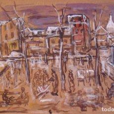 Arte: HENRI BOULAGE PINTOR POST IMPRESIONISTA MONMARTRE PARIS FRANCE ACUARELA GOUACHE PLACE DU TERTRE. Lote 85501880