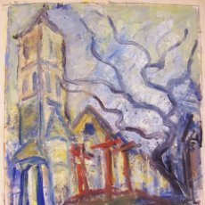 Arte: PINTURA HENRI BOULAGE PINTOR POST IMPRESIONISTA MONMARTRE PARIS FRANCE FRANCIA OLEO RUE EGLISE. Lote 85504172