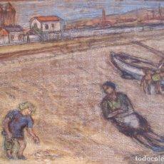 Arte: HENRI BOULAGE PINTOR POST IMPRESIONISTA ESPAÑA PLAYA MALAGA MADRE E HIJA PARIS FRANCIA ACUARELA. Lote 85506516