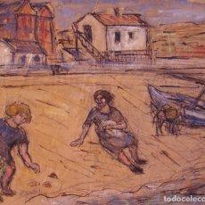 Arte: HENRI BOULAGE PINTOR POST IMPRESIONISTA ESPAÑA PLAYA MALAGA MADRE E HIJA PARIS FRANCIA ACUARELA. Lote 85506676