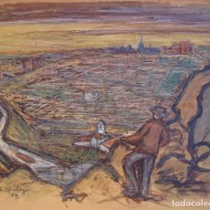 Arte: HENRI BOULAGE PINTOR POST IMPRESIONISTA DEVAND TOLEDO PAISAJE PUEBLO PARIS FRANCE FRANCIA ACUARELA. Lote 85508028
