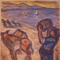 Arte: PINTURA HENRI BOULAGE PINTOR POST IMPRESIONISTA PLAYA SAN ANDRES MALAGA ESPAÑA PARIS FRANCE ACUARELA. Lote 85508916