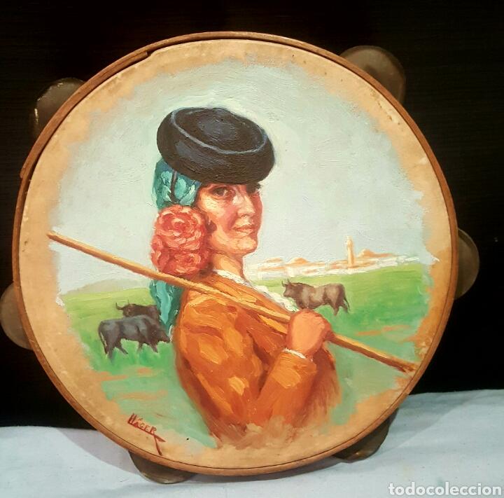 ANGEL LLACER MUNI (1889-1957) CORDOBA. OLEO SOBRE PANDERETA, 26CM (Arte - Pintura - Pintura al Óleo Contemporánea )