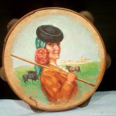 Arte: ANGEL LLACER MUNI (1889-1957) CORDOBA. OLEO SOBRE PANDERETA, 26CM. Lote 85668596