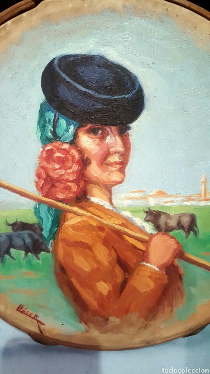 Arte: ANGEL LLACER MUNI (1889-1957) CORDOBA. OLEO SOBRE PANDERETA, 26CM - Foto 2 - 85668596