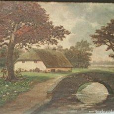 Arte: OLEO SOBRE TABLA, S.XIX, FIRMA ILEGIBLE, PAISAJE RURAL, RIO. 45X36CM. Lote 85678016