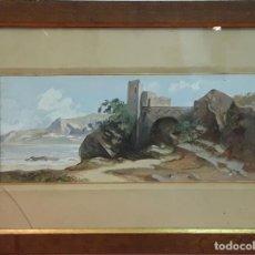 Arte: RUINAS JUNTO AL MAR. TÉCNICA MIXTA. PAPEL. SIN FIRMA. ESPAÑA. SIGLO XIX . Lote 85739264