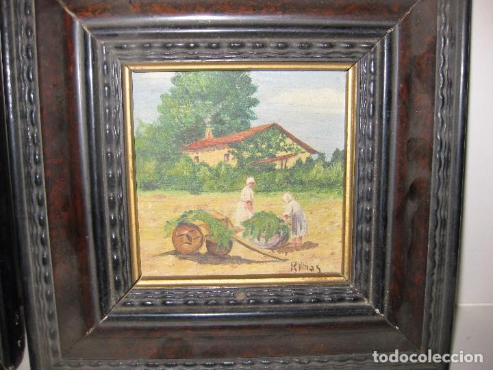 Arte: 2 antiguo cuadro escena rural R. Viñas . oleo sobre madera . marco madera - Foto 2 - 85785656