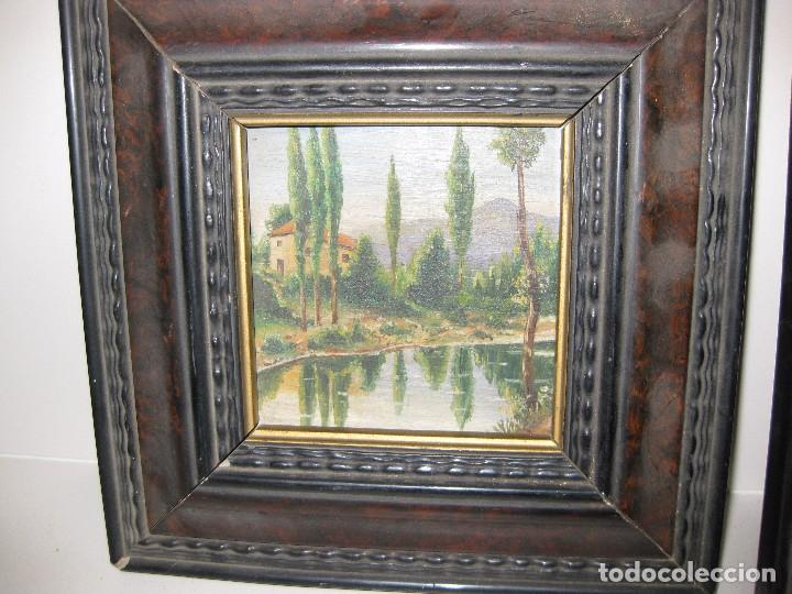 Arte: 2 antiguo cuadro escena rural R. Viñas . oleo sobre madera . marco madera - Foto 3 - 85785656