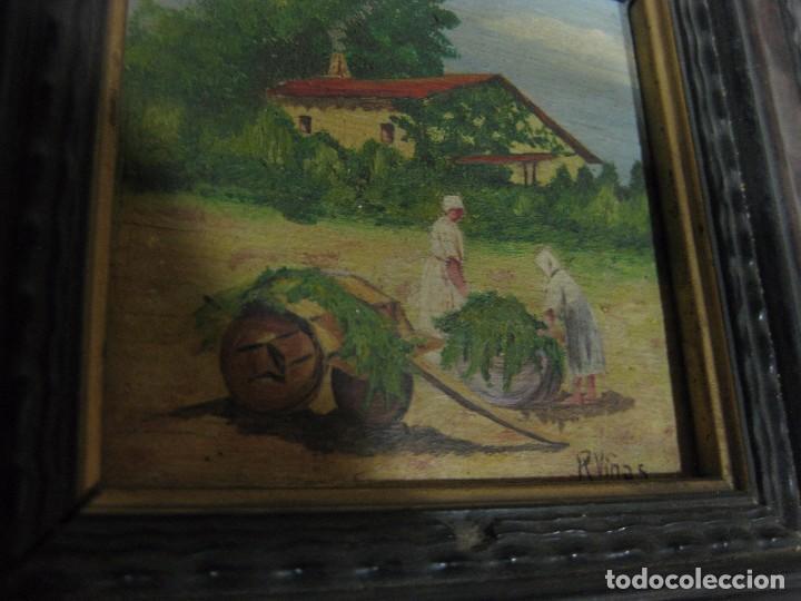 Arte: 2 antiguo cuadro escena rural R. Viñas . oleo sobre madera . marco madera - Foto 6 - 85785656