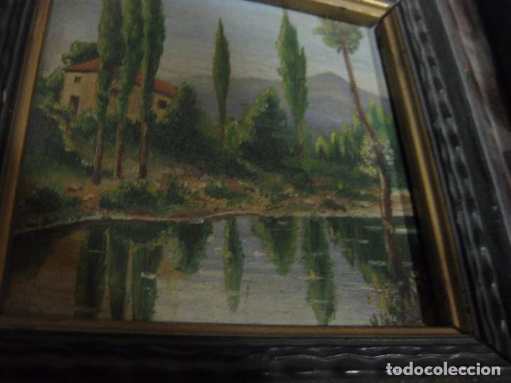 Arte: 2 antiguo cuadro escena rural R. Viñas . oleo sobre madera . marco madera - Foto 7 - 85785656