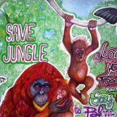 Arte: SAVE THE JUNGLE SALVA LA JUNGLA 2016 BOLIGRAFOS/ PAPEL OBRA DE ALMA AJO. Lote 85862404