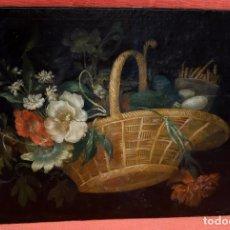 Arte: ESCUELA ESPAÑOLA DEL SIGLO XVIII. OLEO SOBRE TELA Y ADHERIDO A TABLA. BODEGON. Lote 86008556