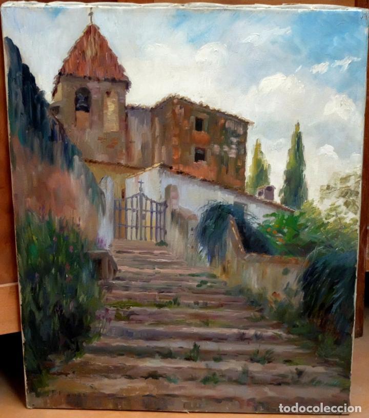 FRANCESC PLANAS DORIA (SABADELL, 1879 - 1955) OLEO SOBRE TELA DE LOS AÑOS 30. VISTA DE UNA IGLESIA (Arte - Pintura - Pintura al Óleo Contemporánea )