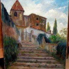 Arte: FRANCESC PLANAS DORIA (SABADELL, 1879 - 1955) OLEO SOBRE TELA DE LOS AÑOS 30. VISTA DE UNA IGLESIA. Lote 86009656