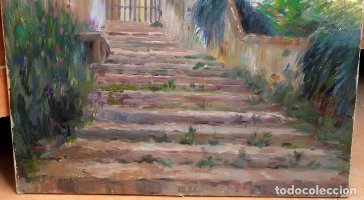 Arte: FRANCESC PLANAS DORIA (SABADELL, 1879 - 1955) OLEO SOBRE TELA DE LOS AÑOS 30. VISTA DE UNA IGLESIA - Foto 4 - 86009656