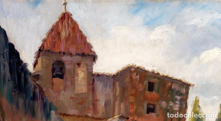 Arte: FRANCESC PLANAS DORIA (SABADELL, 1879 - 1955) OLEO SOBRE TELA DE LOS AÑOS 30. VISTA DE UNA IGLESIA - Foto 5 - 86009656