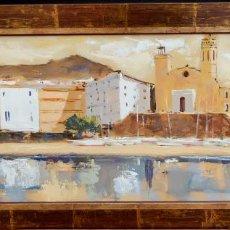Arte: MANUEL DOBLAS PINTO (BELLETTI) OLEO SOBRE CARTON. VISTA DE SITGES. Lote 86012124