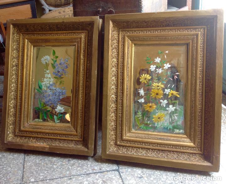 2 antiguos cuadros florales oleo sobre espejo comprar - Cuadros de espejo ...