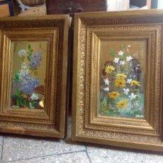 Arte: 2 ANTIGUOS CUADROS FLORALES , OLEO SOBRE ESPEJO , FIRMADOS 1873 - ISABELINOS. Lote 86031764