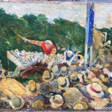 Arte: JACQUES-ÉMILE BLANCHE (1861-1942) PINTOR FRANCÉS - ÓLEO SOBRE TELA - CARRERA DE CABALLOS. Lote 86057296