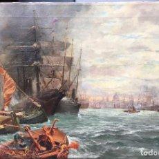 Arte: ANGELO BROMBO (1893-1962) PINTOR ITALIANO - ÓLEO SOBRE TELA - BARCOS CON VISTA DE VENECIA DE FONDO. Lote 86057372