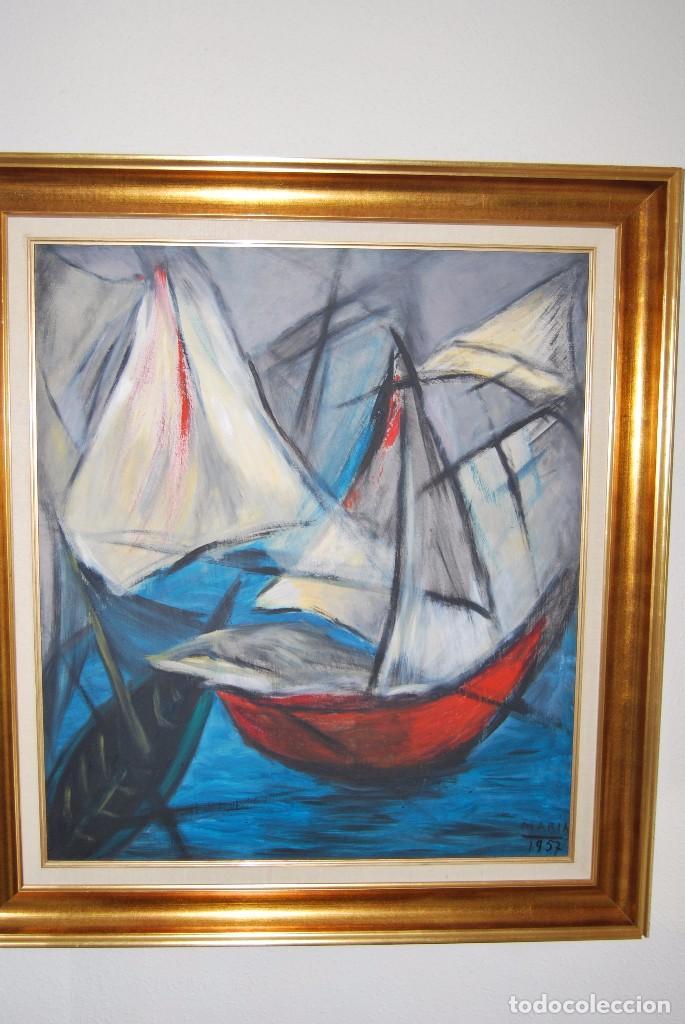 ÓLEO SOBRE TABLA - MARINA - BARCOS - FIRMADO Y FECHADO EN 1957 - GRAN TAMAÑO (Arte - Pintura - Pintura al Óleo Contemporánea )