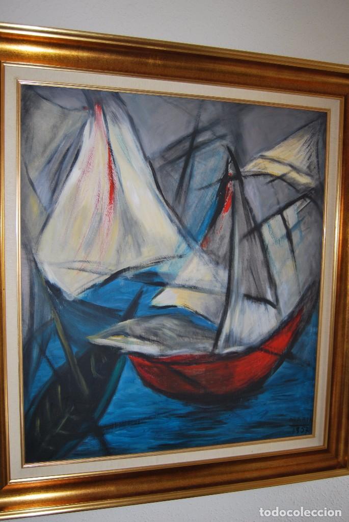 Arte: ÓLEO SOBRE TABLA - MARINA - BARCOS - FIRMADO Y FECHADO EN 1957 - GRAN TAMAÑO - Foto 2 - 86238384