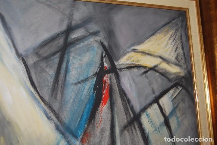 Arte: ÓLEO SOBRE TABLA - MARINA - BARCOS - FIRMADO Y FECHADO EN 1957 - GRAN TAMAÑO - Foto 4 - 86238384