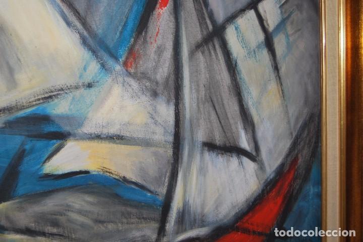 Arte: ÓLEO SOBRE TABLA - MARINA - BARCOS - FIRMADO Y FECHADO EN 1957 - GRAN TAMAÑO - Foto 5 - 86238384