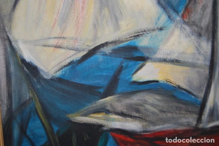 Arte: ÓLEO SOBRE TABLA - MARINA - BARCOS - FIRMADO Y FECHADO EN 1957 - GRAN TAMAÑO - Foto 6 - 86238384