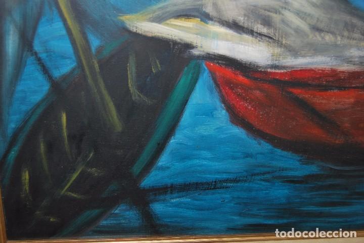 Arte: ÓLEO SOBRE TABLA - MARINA - BARCOS - FIRMADO Y FECHADO EN 1957 - GRAN TAMAÑO - Foto 7 - 86238384