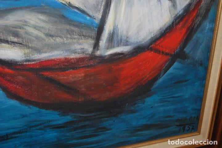 Arte: ÓLEO SOBRE TABLA - MARINA - BARCOS - FIRMADO Y FECHADO EN 1957 - GRAN TAMAÑO - Foto 8 - 86238384