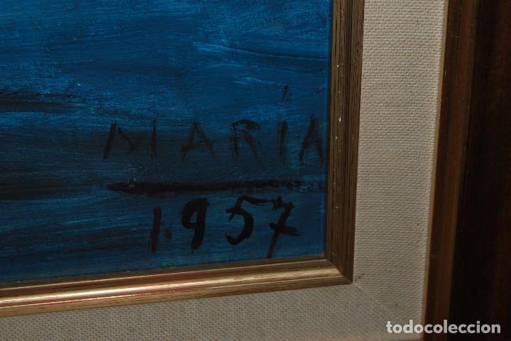 Arte: ÓLEO SOBRE TABLA - MARINA - BARCOS - FIRMADO Y FECHADO EN 1957 - GRAN TAMAÑO - Foto 9 - 86238384