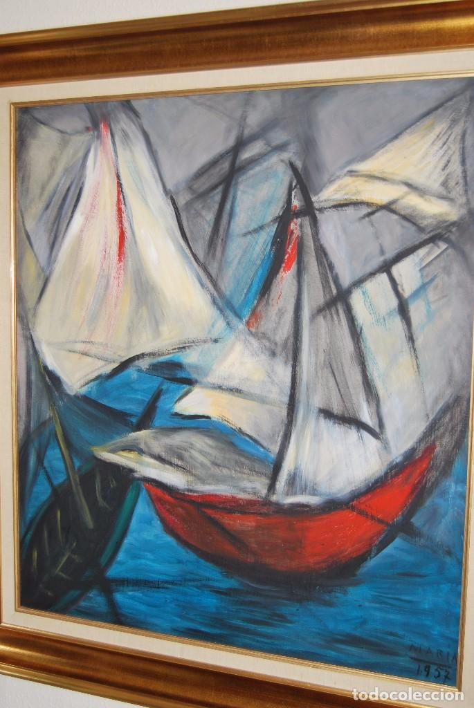 Arte: ÓLEO SOBRE TABLA - MARINA - BARCOS - FIRMADO Y FECHADO EN 1957 - GRAN TAMAÑO - Foto 10 - 86238384