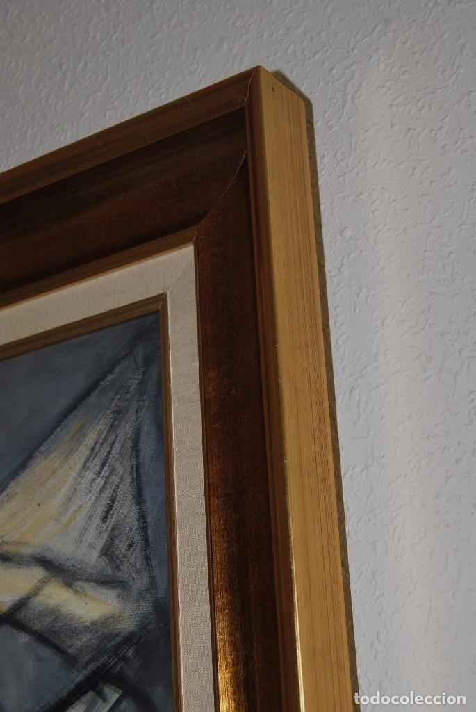 Arte: ÓLEO SOBRE TABLA - MARINA - BARCOS - FIRMADO Y FECHADO EN 1957 - GRAN TAMAÑO - Foto 11 - 86238384
